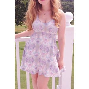 Free People Abstract Flower Fit and Flare Dress